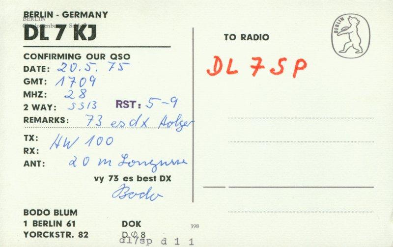 QSL-Karte von DL7KJ mit DL7SP (lokale Kopie angelegt)