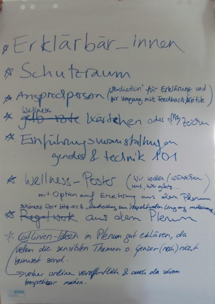 Liste der Vorschläge und Ideen, an denen weitergearbeitet werden soll